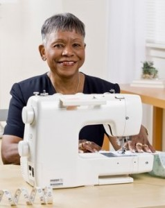 Sewing repair lady